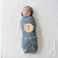 baby with pacifier and swaddle blanket with number 2 wooden disc sign plaque