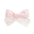 light pink little girls clip in bow sophie lace modern cute