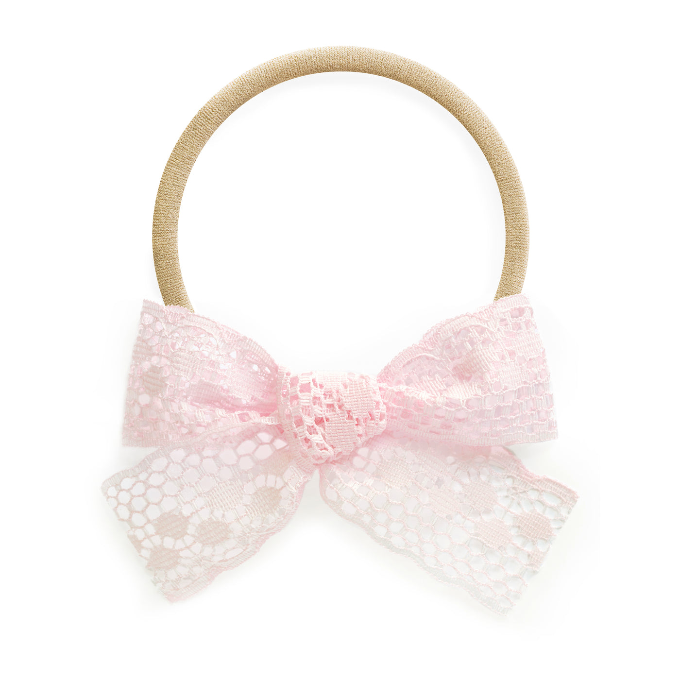 baby headband light pink lace bow