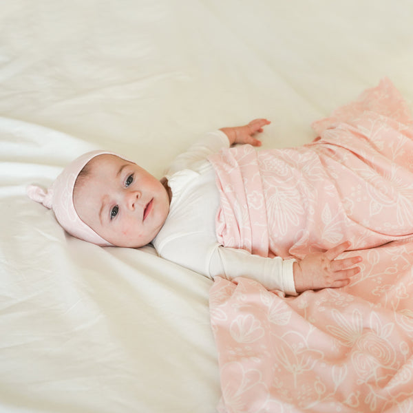 Extra Soft Stretchy Knit Swaddle Blanket: Perfectly Pink