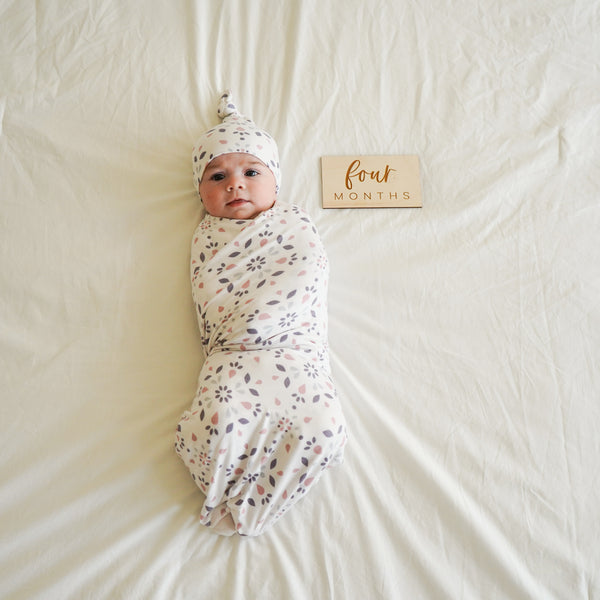 Extra Soft Stretchy Knit Swaddle Blanket: Modern Mosaic