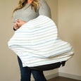Extra Soft and Stretchy Nursing and Carseat Cover: Dapper Stripes