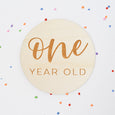 One Year Old Sign: Cheerful Script