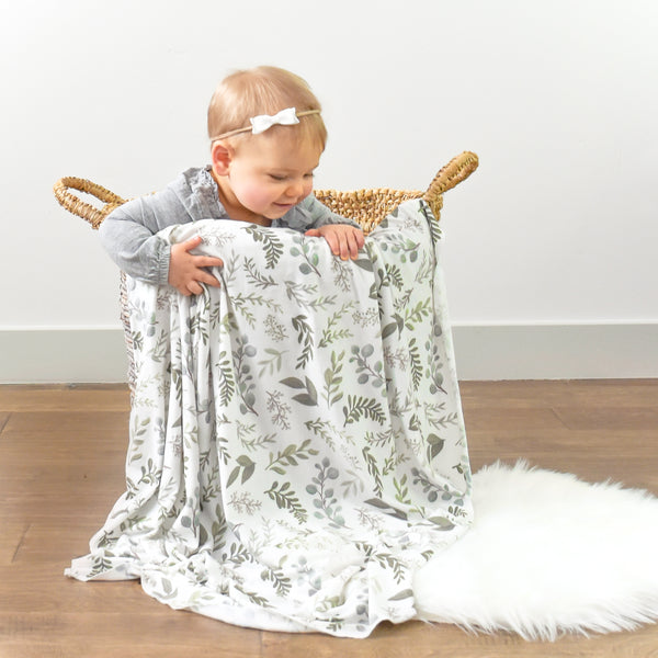 Extra Soft Stretchy Knit Swaddle Blanket: Graceful Greenery