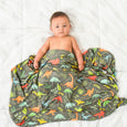 Extra Soft Stretchy Knit Swaddle Blanket: Jurassic Tracks