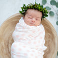 Extra Soft Stretchy Knit Swaddle Blanket: Blush Dottie