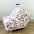 Extra Soft and Stretchy Nursing and Carseat Cover: Peach Posey