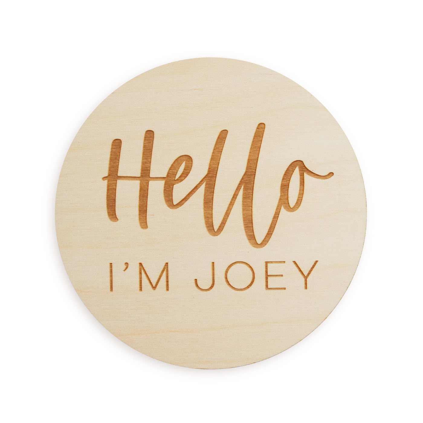 village baby custom name engraved wood sign Hello I'm