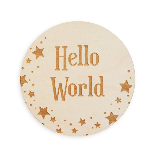 village baby hello world star with signs for baby nursery space theme