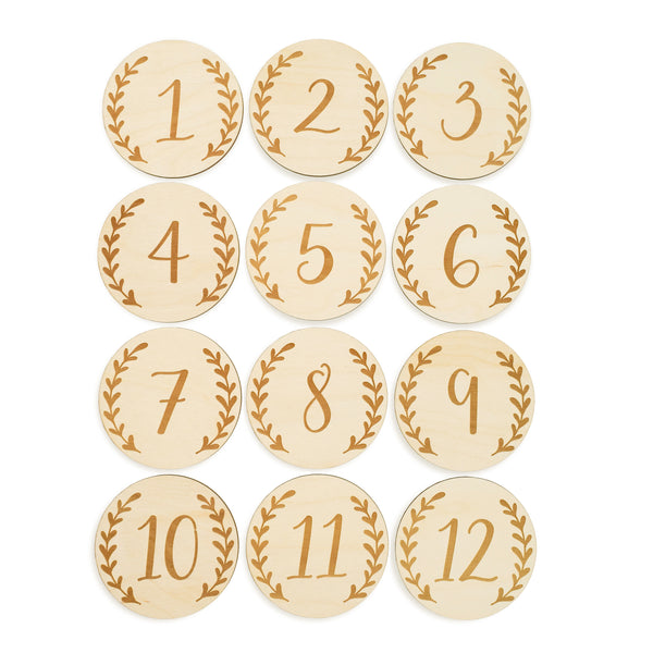 12 wooden disc baby monthly milestone set leaves graceful greenery laser cut engraved