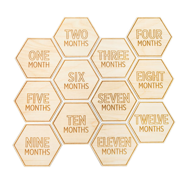 hexagon shaped milestone signs set of twelve with modern fonts