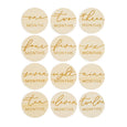 simple modern round monthly milestones engraved wood set for baby gift