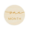 simple modern round monthly milestones engraved wood baby one month old