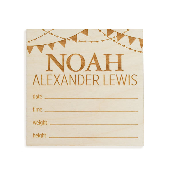 village baby custom name engraved wood sign with celebration banner bunting motif and birth stats