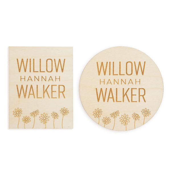 village baby dainty daisy custom name engraved wood sign rectangle and circle options