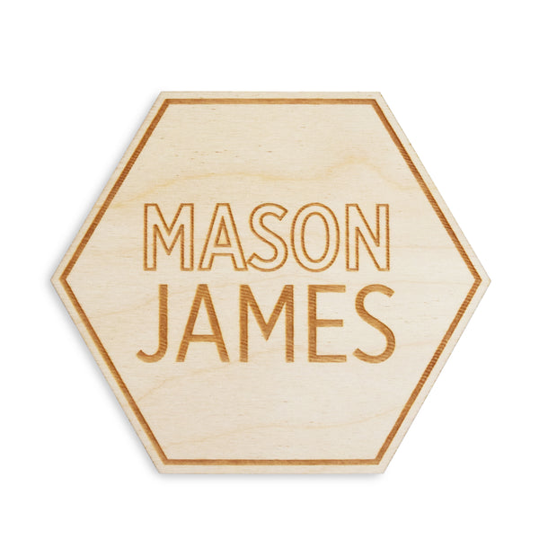 hexagon engraved wood custom baby name sign
