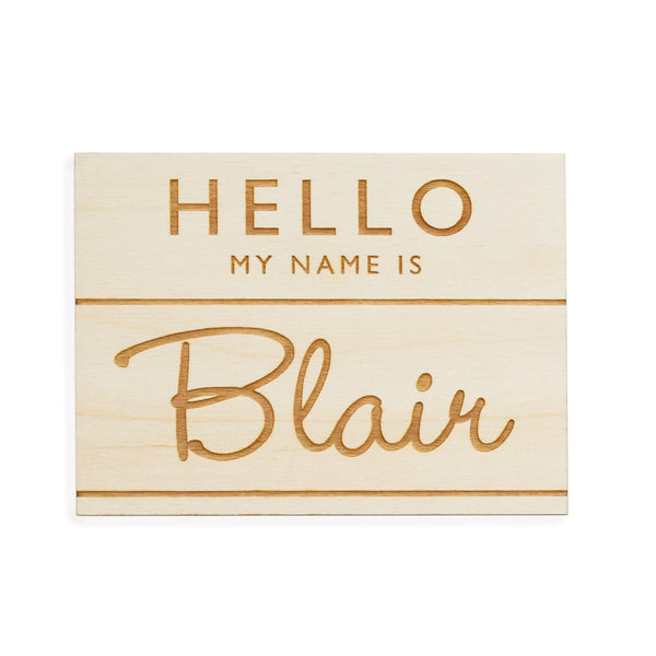 village baby custom name engraved wood sign badge