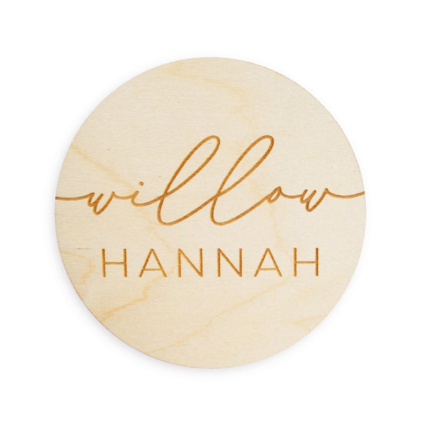village baby custom engraved baby name wood sign simple script and san seraph font