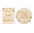 village baby starry dreams wooden custom name signs rectangle and circle options