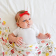 baby swaddle and bow playful poppies red scarlet headband