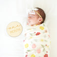 baby with one month sign, swaddle blanket, bow headband, sleeping, set, gift baby shower