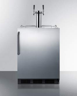 Summit Appliance SBC58BBICSSADA Built-in Undercounter ADA Height Commercially Listed Dual Tap Beer Dispenser in Stainless Steel