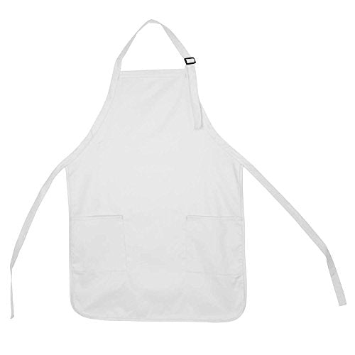 DALIX Apron Commercial Restaurant Home Bib Spun Poly Cotton Kitchen Aprons (2 Pockets) in White 72 Pack