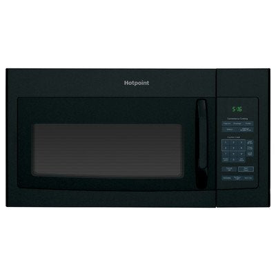 "Hotpoint RVM5160DHBB 1.6 cu. ft. Over-The-Range Microwave Oven Black , 16.5"" Height, 29.875"" width, 15.25"" Length"