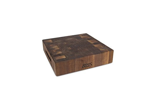 John Boos Block WAL-CCB121203 Classic Reversible Walnut Wood End Grain Chopping Block, 12 Inches x 12 Inches x 3 Inches