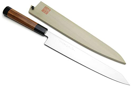 Yoshihiro VG-1 Gold Stainless Steel Sujihiki Kiritsuke Japanese Slicer Chefs Knife Shitan Handle w/Nuri Saya Cover (10.5'' (270mm))