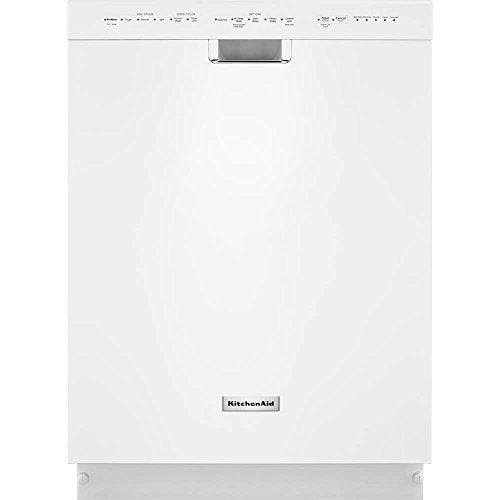 Front Control Dishwasher in White with Stainless Steel Tub