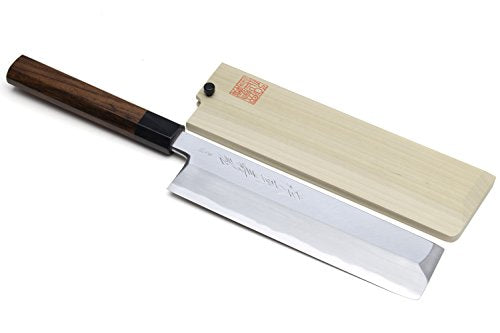 Yoshihiro Hongasumi Blue Steel Edo Usuba Traditional Japanese Vegetable Chopping Chef Knife (8.25'' (210mm), Rosewood Handle)