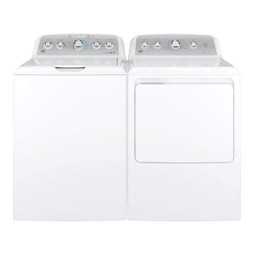 "GE Top Load Speed Wash GTW485ASJWS 27"" Washer with Front Load GTD45GASJWS 27"" Gas Dryer Laundry Pair in White"