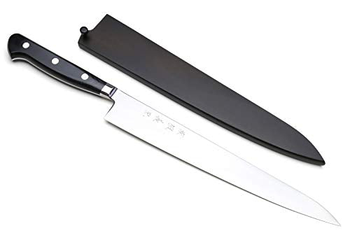 "Yoshihiro High Speed Steel Sujihiki Slicer Knife (Black Pakkawood Handle) (10.5""/270mm)"
