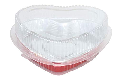 "Disposable Red Aluminum Heart Shaped Cake Pan 8"" Size w/Lid options (100, WITH CLAMSHELL CONTAINER)"