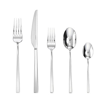 Sambonet Linea Q 20-Pieces Flatware Set, 18/10 Stainless Steel, Place Setting for 4 guests, Silverware Set, shiny tableware set, Dishwasher safe, Knife/Fork/Spoon for your home