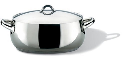 "Alessi,SG112/30""MAMI"", Oval casserole in 18/10 stainless steel mirror polished with lid,6 qt 11 ¼ oz"