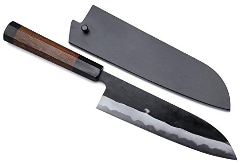 Yoshihiro Mizu Yaki Aogami Super Blue High Carbon Steel Kurouchi Santoku Knife (7'' (180mm) & Saya, Octagonal Rosewood Handle)