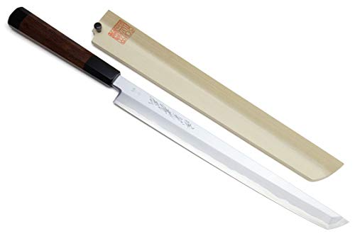 Yoshihiro Aonamiuchi Blue Steel #1 Sakimaru Takobiki Sushi Sashimi Slicing Japanese Chef Knife Rosewood Handle (11.8'' (300mm))