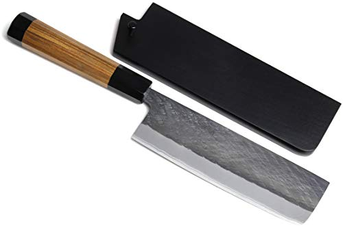 Yoshihiro Kurouchi Black-Forged Blue Steel Stainless Clad Nakiri Japanese Vegetable Knife (6.5'' (165mm) & Saya)