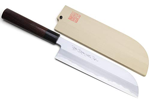 Yoshihiro Shiroko High Carbon Steel Kasumi Kama Usuba Japanese Vegetable Chef's Knife 7inch(180mm) with Shitan Handle