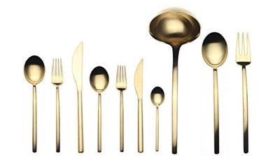 Mepra 45-Piece Due Ice Oro Flatware Set
