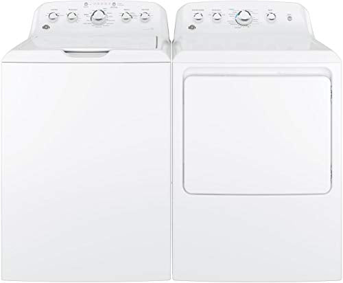 "GE Top Load Speed Wash GTW460ASJWW 27"" Washer with Front Load GTX42EASJWW 27"" Electric Dryer Laundry Pair in White"