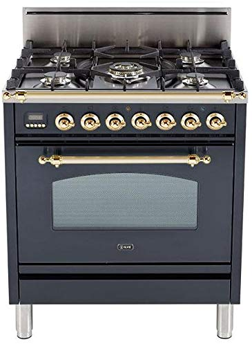 Ilve UPN76DVGGM Nostalgie Series 30 Inch Gas Convection Freestanding Range, 5 Sealed Brass Burners, 3 cu.ft. Total Oven Capacity in Matte Graphite, Brass Trim (Natural Gas)