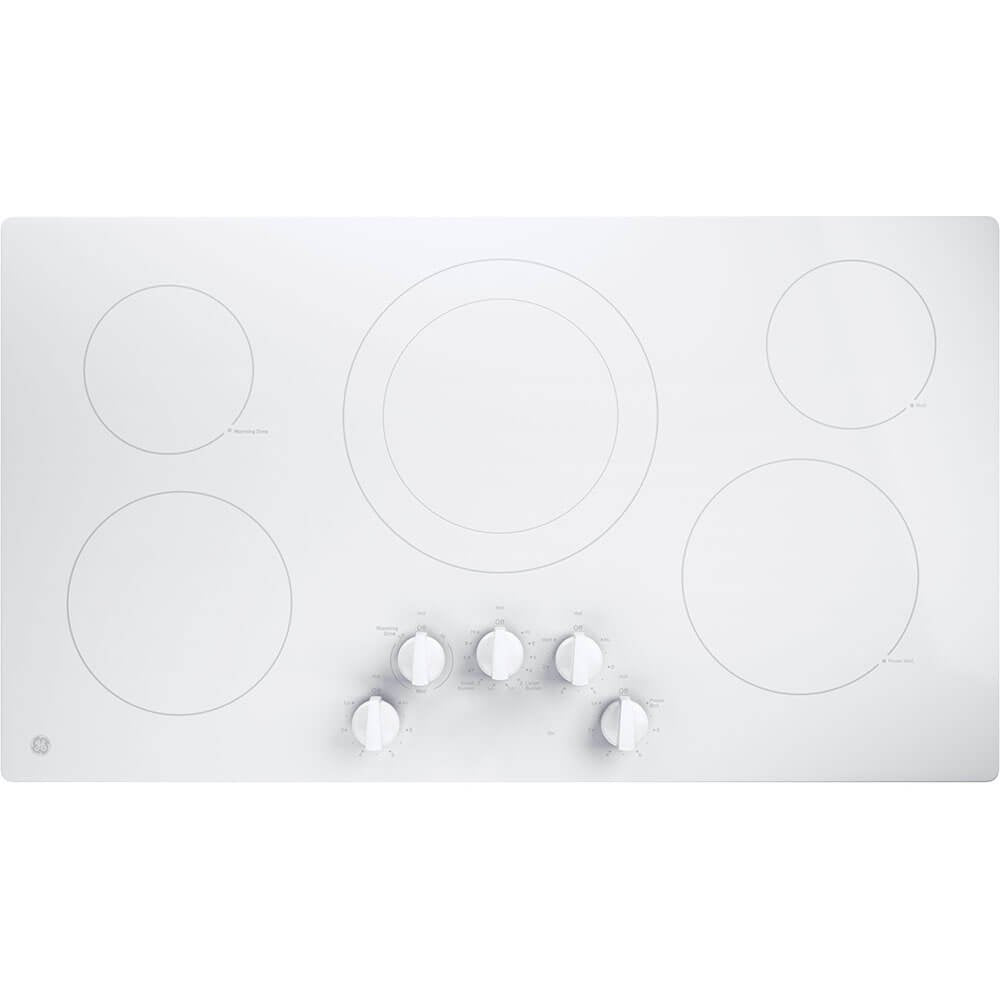 "GE JP3036TLWW 36"" Electric Cooktop with 5 Elements, Smoothtop Style, Keep Warm Zone, Hot Indicator, ADA Compliant, UL Safety Listed, Glass Ceramic Surface"
