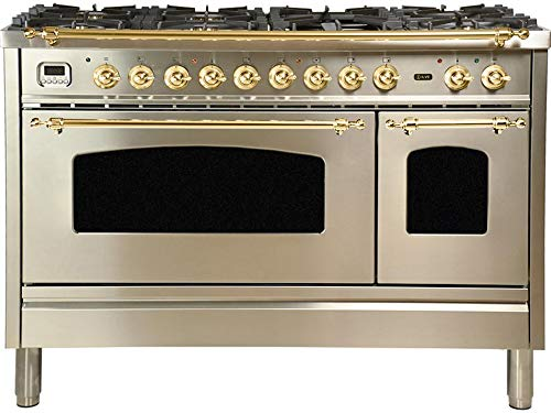 Ilve UPN120FDMPI Nostalgie Series 48 Inch Dual Fuel Convection Freestanding Range, 7 Sealed Brass Burners, 5 cu.ft. Total Oven Capacity in Stainless Steel, Brass Trim (Natural Gas)