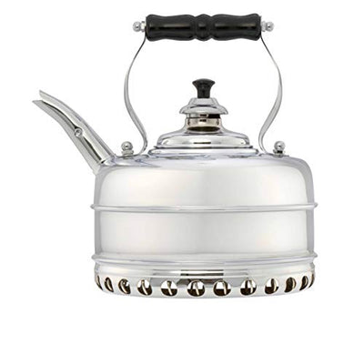Simplex Tea Kettle Buckingham No 3 Solid Copper Chrome Plated Whistling Tea Kettle For Gas Stoves by Newey & Bloomer