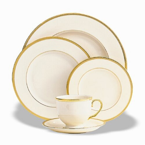 Lenox 110790610 Tuxedo 5-Piece Place Setting, ivory, gold