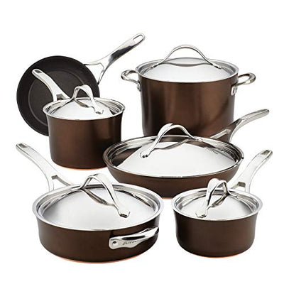 Anolon 83852 11-Piece Hard Anodized Aluminum Cookware Set, Sable