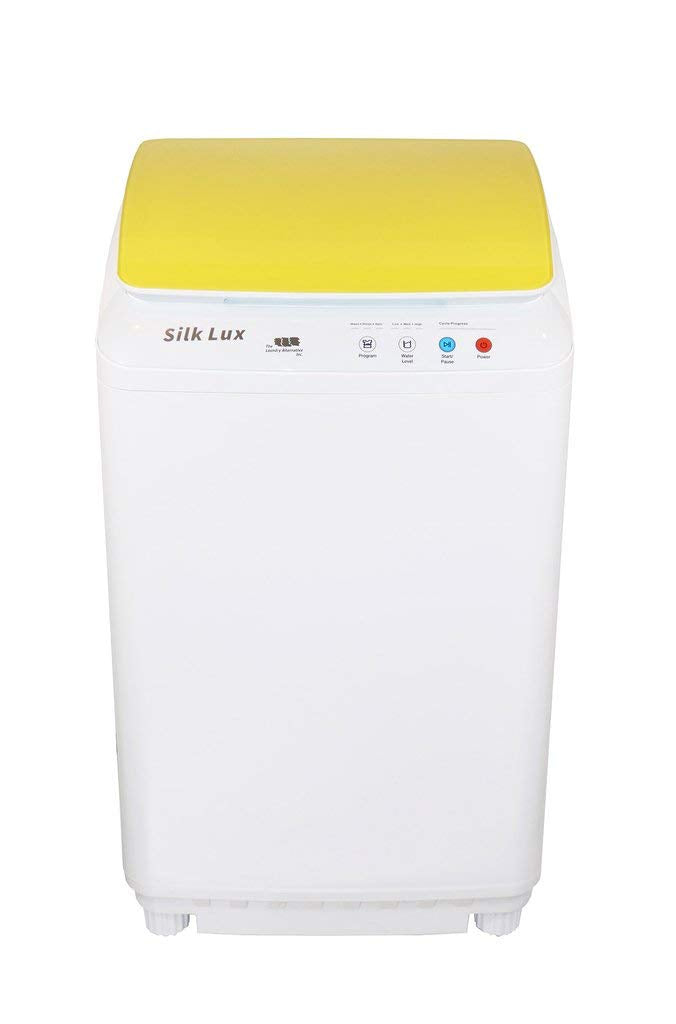 The Laundry Alternative - Silk Lux Portable Mini Automatic Washing Machine with Germicidal UV Light - 7.7-Pound Load Capacity - Yellow Lid